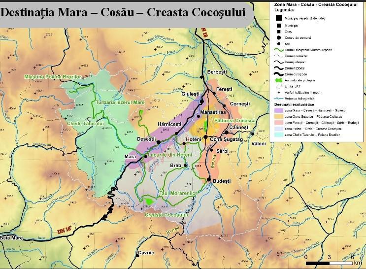 harta destinatiei mara - cosau - creasta cocosului